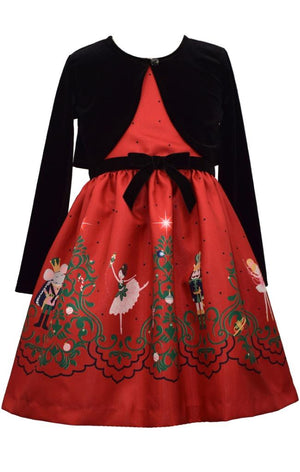 Bonnie Jean Christmas Nutcracker Ballet Print Dress with Velvet Cardigan Set
