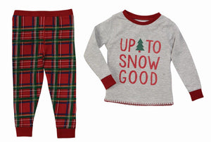 "Mud Pie Kids Tartan Red Plaid Christmas Boys Pajamas ""Up to Snow Good"""