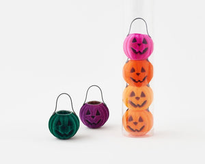 "Multi-Color Flocked 2.5"" Pumpkin Basket Halloween Set of 6"
