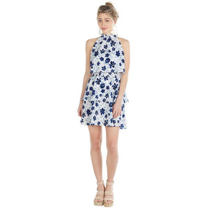 Mud Pie Womens Pacey Sleeveless Flounce Summer Dress Blue Floral Print Blue