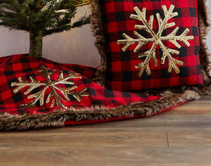 "48"" Red Buffalo Check Lodge Collection Christmas Tree Skirt Faux Fur Trim Snowflake"
