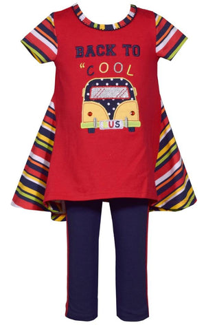 Bonnie Jean BTS Back to Cool School Bus Girls Tunic and Pants 2 Pc Set