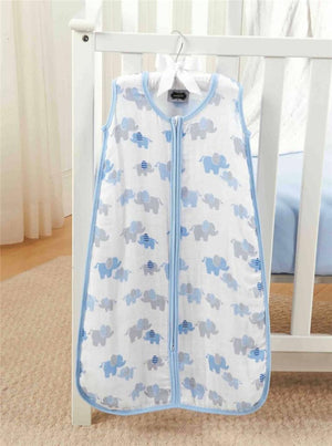 Mud Pie Blue Layette Collection Bamboo Sleeping Bag, Elephant Print