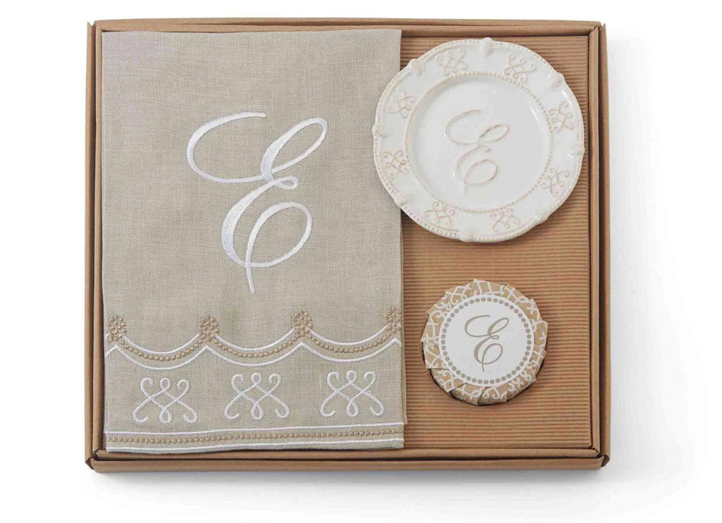 Mud Pie Knot Beau Collection Fleur de Lis Monogram Initial Towel and Soap Set