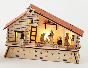 180 Degrees Wood Lighted Nativity in Barn Creche Scene with Holy Family and Wise Men