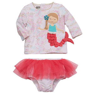 Mud Pie Kids Mermaid Rash Guard and Tutu Bikini Girls 2 Piece Bathing Suit