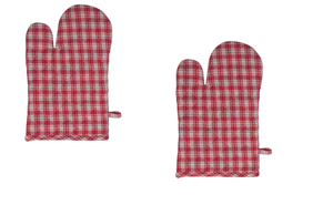 Red and Cream Buffalo Plaid Farmhouse Christmas Oven Mitt Pot Holders, Set of 2