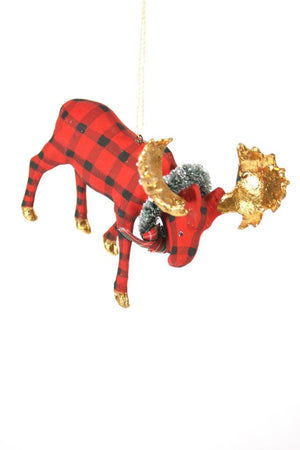 Cody Foster Buffalo Check Woodland Moose Gold Antler Christmas Tree Ornament