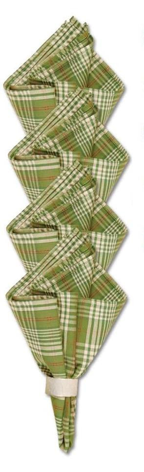 April Cornell Green Plaid Fabric Cloth Napkins, Set of 4