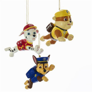 Kurt Adler Nick Jr Paw Patrol Marshall Rubble Chase Dog Christmas Ornament Set of 3