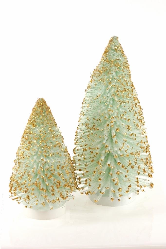 "Cody Foster 7.5"" White Light Green Christmas Village Tree Gold Tips-Set of 2"