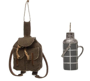 Camping Hiking Drink Water Canteen Canvas Backpack Christmas Ornament