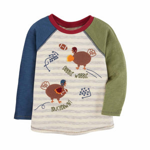 Mud Pie Kids Boys Thanksgiving Turkey Playing Football Applique Shirt