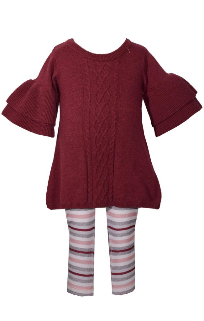 Bonnie Jean Ruffled Wide Sleeve Sweater with Cable Knit Design and Striped Legging Set