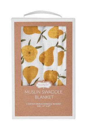 Mud Pie Kids Fall Harvest Pear Print Muslim Cotton Baby Swaddle Blanket