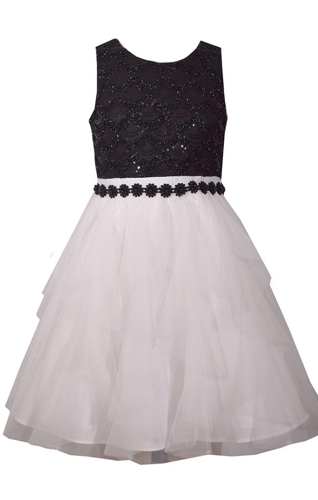 Bonnie Jean Sleeveless Dress with Black Sequin Accented Bodice and Cascading Chiffon Skirt
