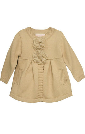 Bonnie Jean Girls Ivory Hooded Coatigan Sweater Jacket with Flowers