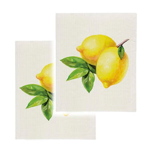 Cotton Sponge Cloth Kitchen Clean Up Reusable Summer Lemon Print Set of 2