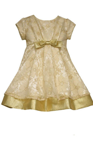 Bonnie Jean Girls Baby Christmas Gold Lace Dress with Bow