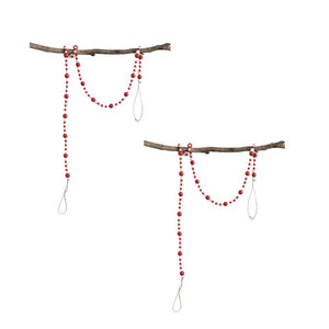 "Sullivans 48"" Red and White Round Wood Bead Christmas Garland-Set of 2"