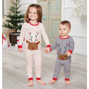 Mud Pie Kids Boys Christmas Morning Reindeer Print 2 Pc Pajamas PJs
