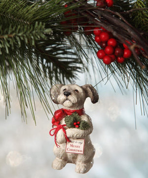 "Bethany Lowe Holly Jolly Terrier Dog Christmas Puppy 3.5"" Tree Ornament"