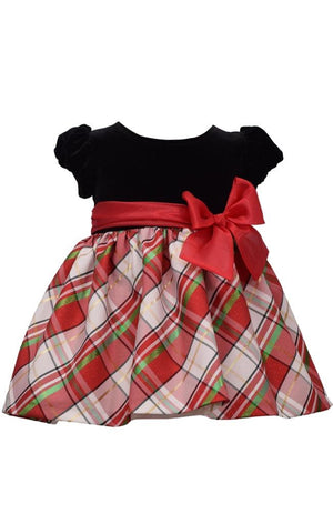 Bonnie Jean Short Sleeve Christmas Dress Black Velvet and White Tartan Plaid Skirt