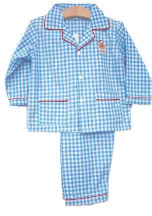 Gingerbread Blue Gingham Kids Christmas Pajamas Lightweight