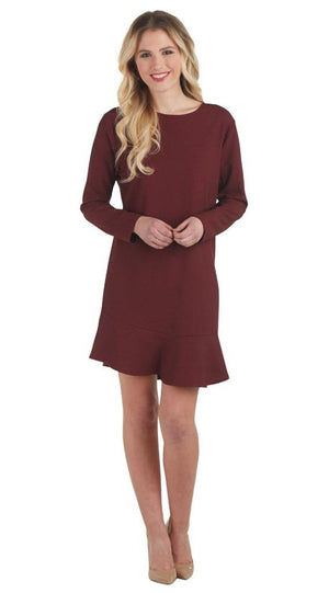 Mud Pie Womens Jesse Long Sleeve Flounce Dress, Burgundy