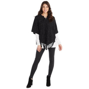 Mud Pie Womens Pixie Speckled Knit Fringed Poncho, Black Color