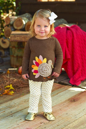 Mud Pie Girls Thanksgiving Turkey Tunic and Gold Dot Leggings
