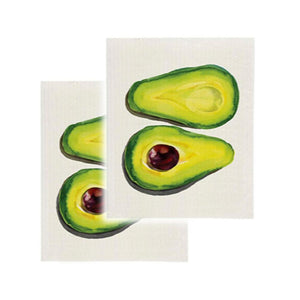 Cotton Sponge Cloth Kitchen Clean Up Reusable Summer Avocado Print Set of 2