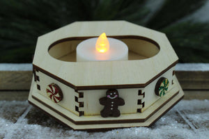 Ginger Cottages Single Tealight Display with Snowflakes for Wood Christmas Village House