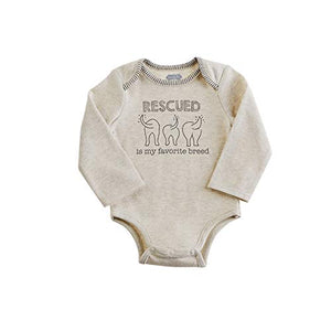"""Rescued is Favorite Breed"" Baby Bodysuit Top Dog Tails"