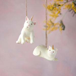Glitterville Pink and Gold Cat Unicorn Christmas Tree Ornaments 2 Designs