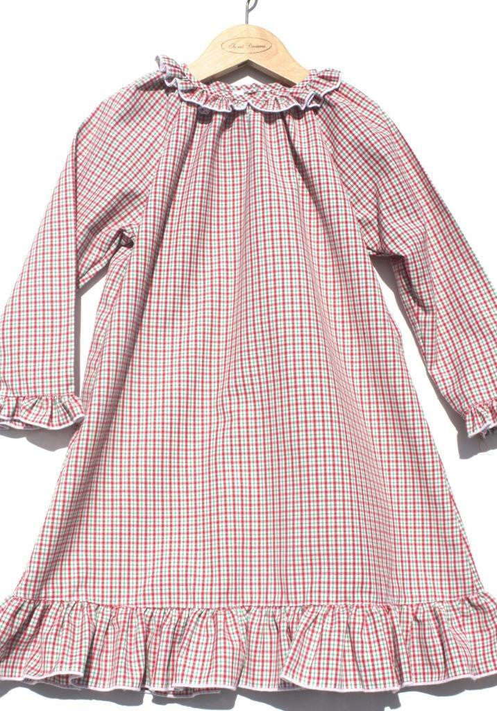 Sweet Dreams Girls Baby Christmas Plaid Lightweight Nightgown Pajamas, White Red
