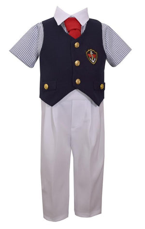 Bonnie Jean Boys Nautical 4-Piece Outfit Shirt Tie Vest Pants