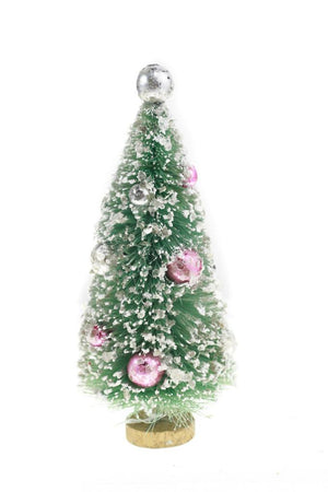 "Cody Foster 7"" Mint Green Bottle Brush Christmas Village Tree Pink Silver Balls"