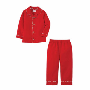Mud Pie Kids Classic Christmas Unisex 2 Pc Red Flannel Pajamas PJs