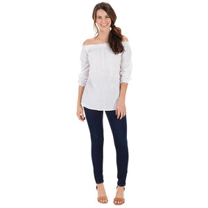 Mud Pie Womens Foster Off-the-Shoulder Chambray Top, White