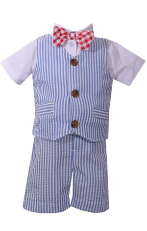 Bonnie Jean Baby Boys Seersucker Americana USA Stripe Vest Short Set
