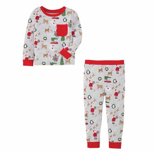 Mud Pie Kids Classic Christmas Santa Reindeer Print Gray Boys 2 Pc Pajamas