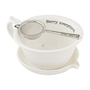 Mud Pie Home Circa Collection Berry  Fruit Serving Bowl and Strainer Set
