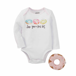 "Mud Pie Kids ""Love You a Hole Lot"" Baby Donut Sentiment Bodysuit Top Rattle Set"