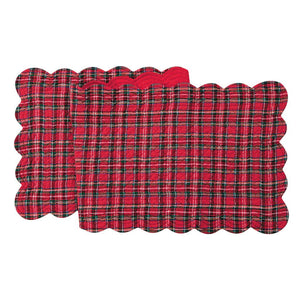 "C & F Quilted Christmas Red Tartan Plaid Table Runner, 14"" x 70"""