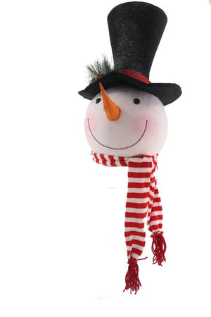 "Big Frosty Snowman Tall Top Hat and Scarf 31"" Christmas Tree Topper"