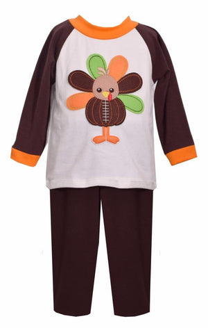 Matt's Scooter Top and Pants Set, Football Turkey Applique