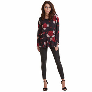 Mud Pie Zoe Flounce Top Womens Blouse Black Rose Print