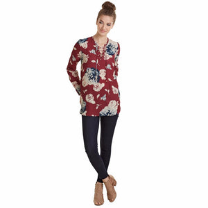 Mud Pie Rosalie Lace-Up Top Womens Blouse Burgundy Rose Print