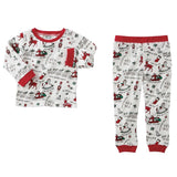 Mud Pie Very Merry Christmas Print Unisex 2 Pc Pajamas Red Trim